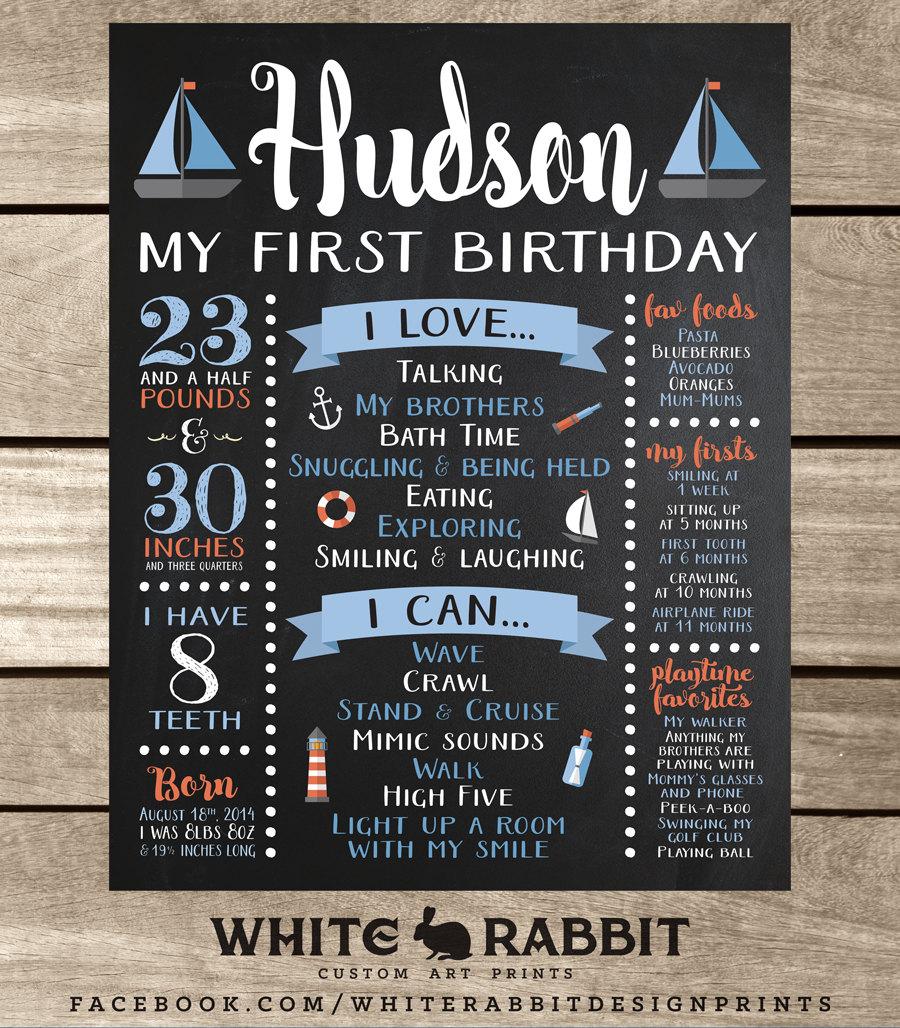 Nautical First Birthday Chalkboard Sign First Birthday Board