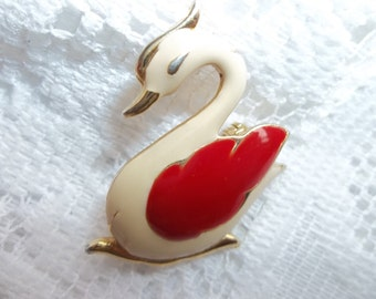 Red and White swan brooch
