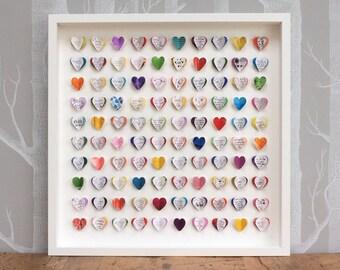 Personalised wedding guest book alternative. Guest book wedding. 100 hearts. LARGE SIZE. Wedding present. Wedding memento. Colourful wedding