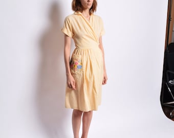 1940s Yellow Cotton Wrap Dress 40s Vintage Striped Day Dress Floral Embroidered Collared Summer Dress Adjustable Waist 24 25 26 27 XS S