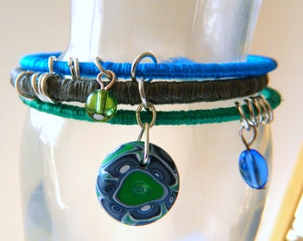 Blue Friday Flowered Bangles