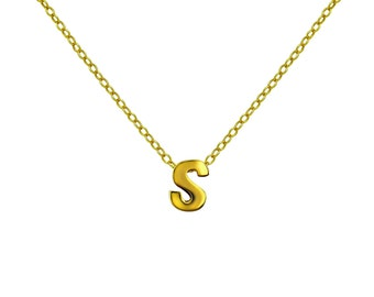 Gold S Pendant Necklace, Vermeil Gold Initial Letter Charm Necklace, Personalized Gift Ideas