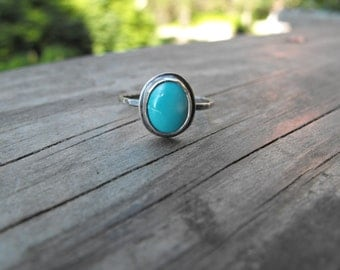 Small Oval Turquoise Stacking Ring Custom Turquoise Ring Blue Turquoise Ring