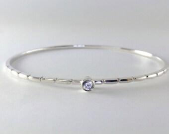 Bezel Set White Sapphire Bangle Bracelet w/ Grooves
