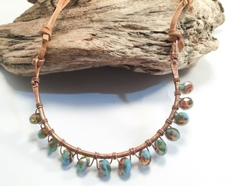 Curved Copper Bar Necklace, Wire Wrapped Beaded Necklace, Natural Soft Leather Clasp-free Necklace, Boho Chic Handmade Blue Copper Necklace