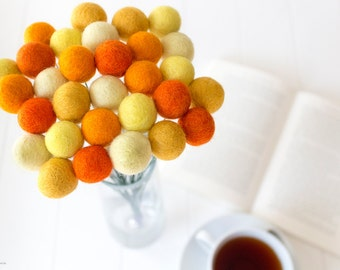 Wool Felt Ball Flowers. Pom Pom Flowers. Wool Craspedia. Billy Buttons Balls. Home Decor. Orange. Yellow. Mustard Bouquet. Wedding Posies