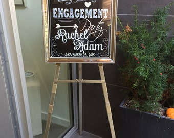 Chalkboard Engagement Party Welcome Sign, welcome to our engagment party sign, engagement chalkboard style, engagement party decor, i do