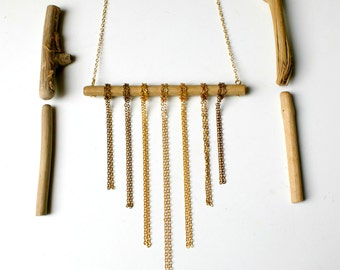 SALES - Chena - Driftwood and chains necklace