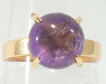Vintage Mid Century Modern Purple Topaz Ring 10k Solid Yellow Gold 1950's