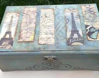 Decorative boxes Turquoise box Paris bedroom decor Jewelry organizer box shabby chic box storage trinkets box keepsake box photo box storage