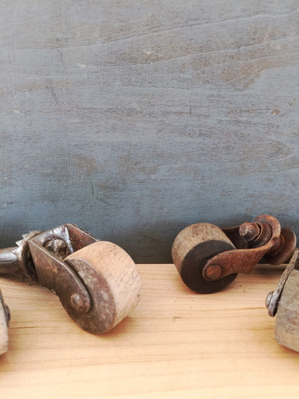 Antique Industrial Casters Factory Salvage Wooden Wheel Castors Vintage Furniture Supplies 8