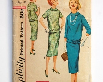 CLEARANCE / Vintage 1950s Simplicity Pattern 2600 / Two-Piece Dress / Bust 36 / Size 16