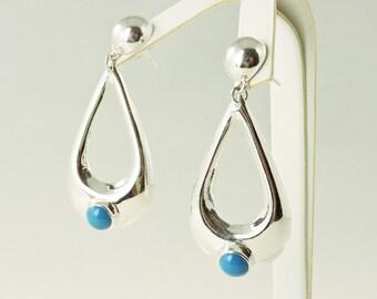 Sterling Silver And Turquoise Teardrop Hoop Earrings (15.8 grams)