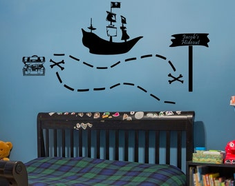 Personalized Pirate Wall Decor-Pirate Ship Wall Art-Pirate Nursery-Pirate Vinyl Decal-Pirate Bedroom-Pirate Wall Vinyl-Boys Bedroom