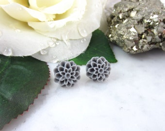 Grey Dahlia Studs - Grey Flower Studs - Stud Earrings - Grey Earrings - Grey Studs - Dahlia Earrings - Flower Earrings - Post Earrings