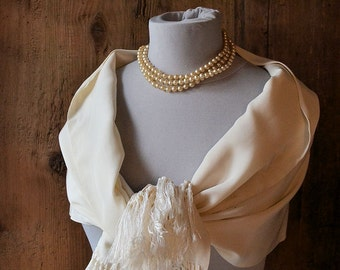 Vintage silk wedding stole, 1950s