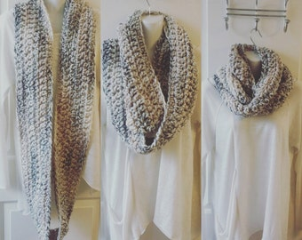 Chunky crocheted infinity scarves