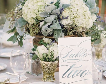 Silver Foil Table Numbers / Names Set - Personalised Silver Table Numbers / Names - Wedding Table Numbers with Silver Foil by Paper Charms