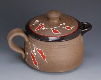 Handmade creamer with lid, creamer, pourer, pottery creamer with lid, ceramic creamer with lid, milk pourer, ceramic milk pourer, lidded