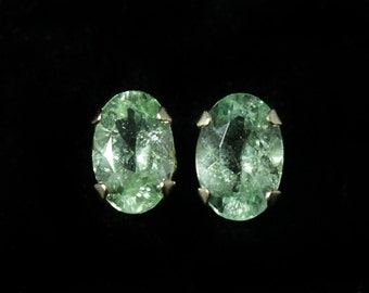 Paraiba Tourmaline Earrings, 0.87 Carats, 6x4mm ovals, 10k YG