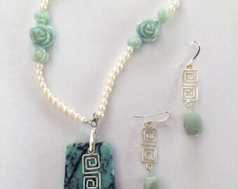 Turquoise and Pearls Gemstone Necklace and Earrings Set