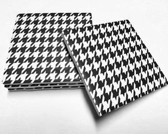 Houndstooth Coasters - Houndstooth Decor - Drink Coasters - Tile Coasters - Ceramic Coasters - Table Coasters