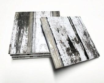 White Wood Design Coasters - Rustic Wood Pattern Home Decor - Drink Coasters - Tile Coasters - Ceramic Coasters - Table Coasters