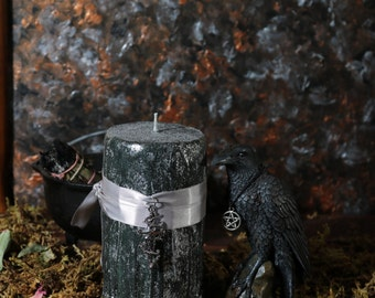 BANISH! Black Spell Candle Ritual Drippy Candle Banishing Spell Candle Magick Witchcraft Supply 6x3 Pillar Witchy Candle
