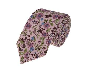 Cameo Floral Neckties.Mens Cotton Ties.Wedding Skinny Ties.Wedding Accessories