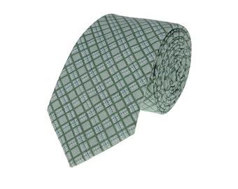 Green Check Neckties.Mens Cotton Ties.Wedding Plaid Ties.Skinny Ties