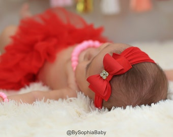 Red Baby Headband, Christmas Headband, Red Bow Headband, Newborn Headband, Baby Headband, Bow Headband, Red Nylon Headband, 715