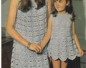 Crochet DRESS Pattern Vintage 70s Crochet Mom and Daughter Dresses Pattern Crochet Girl Dress Crochet Toddler Dress Crochet  Pattern Crochet