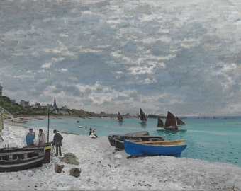 The Beach At Sainte Adresse by Claude Monet, in various sizes, Giclee Canvas Print
