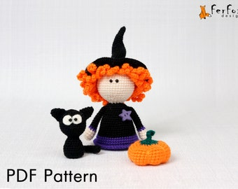 Halloween amigurumi pattern Halloween crochet pattern Crochet DIY tutorial PDF pattern Crochet Witch doll pattern amigurumi pumpkin