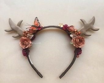 Autumnal Monarch - READY TO SHIP - Deer Antlers Headband Headpiece