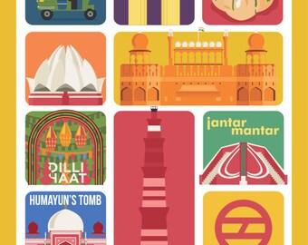New Delhi Art Poster,  New Delhi Prints, Wall Decor, Bar Decor, Travel Art, Kitchen Art, Retro Poster