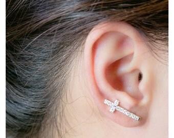 Silver Cross Ear Cuff, Cross Studs, Silver Small Cross Ear Wrap, Cross Ear Studs, Cross Cuff and Wrap, Silver Cross Cuff and Pin, Ear Cuff