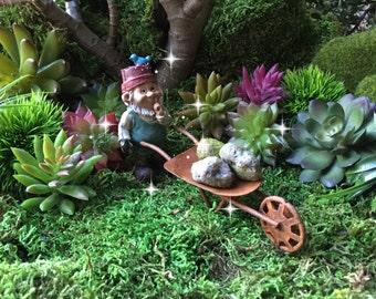 Fairy garden wheelbarrow, miniature garden, miniature rusty wheelbarrow, miniature vegetables, miniature garden supplies, mini garden tools
