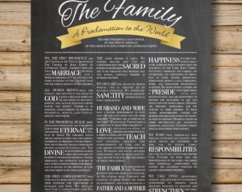 Family Proclamation, Chalkboard-Style, DIGITAL FILE Only, 8x10 & 11x14 Included, LDS Printable, Proclamation to the World, Mormon Art