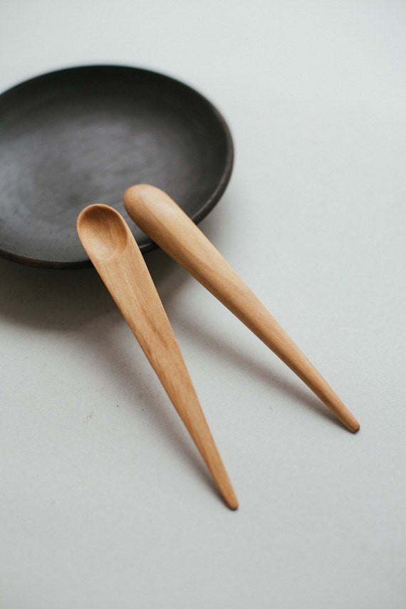 Hand carved wooden small spoon japanese serving