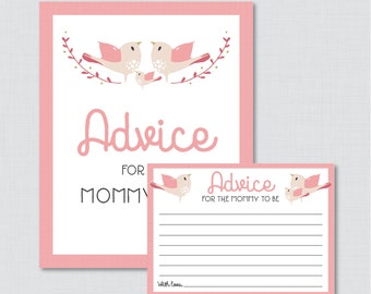 Bird Advice for Mommy to Be Cards and Sign - Printable Pink Birdie Baby Shower Advice for Mom, Advice for Parents to Be - 0037-P