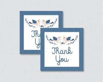 Bird Baby Shower Printable Favor Tag - Navy Blue Birdie Baby Shower Favor Tags - Bird Baby Shower Favor Tag Thank You Tag - 0037-B