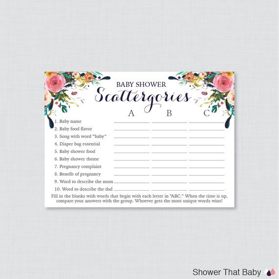 Floral Baby Shower Scattergories Game Printable Download