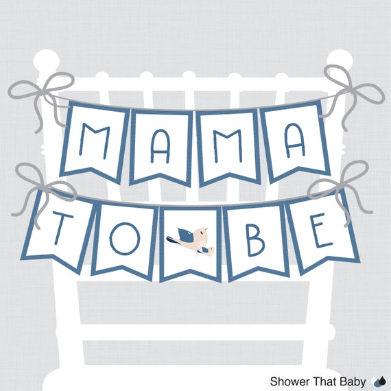 Printable Bird Baby Shower Chair Banner Mama To Be