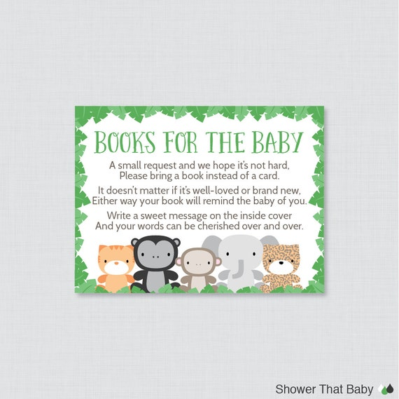 Jungle Theme Baby Shower Printable Bring A Book Instead Of A Card  Invitation Inserts   Green Jungle Stock Babyu0027s Library Card   0042 G