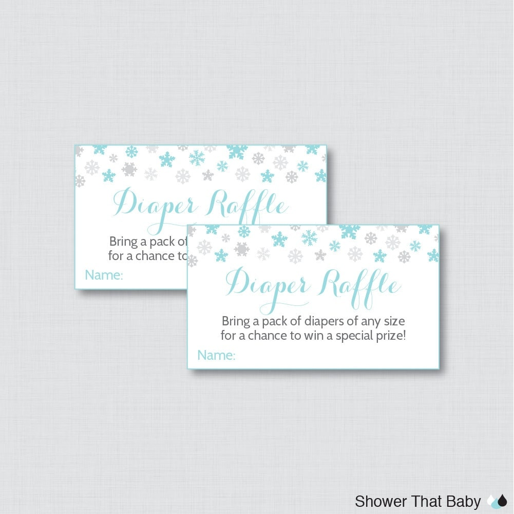 blue diaper raffle winter baby shower diaper raffle ticket cards and diaper raffle sign printable instant blue winter wonderland snowflake 0004 b