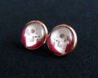 Blood Skull Stud Earrings-Halloween Earrings-Skull Earrings-Gothic Earrings-Skull Jewelry-Skulls-Goth Jewelry-Goth Earrings