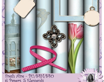 Fresh Aire - a digital scrapbooking kit with 6 papers and 5 elements