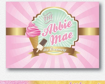 Vintage Ice Cream Shop party backdrop/banner | Personalised Digital PDF