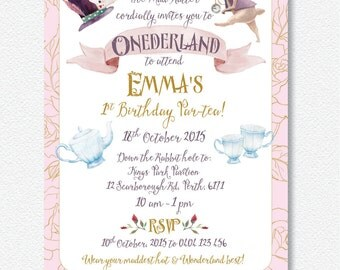Mad Hatter Alice in ONEDERLAND invitation |  Personalised Digital file